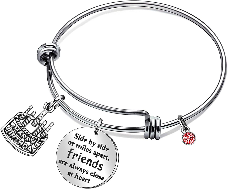 CAROMAY Friendship Bangle Bracelets Charm Gift Birthday Cake Pendant Red Birthstone Adjustable for Girls Women