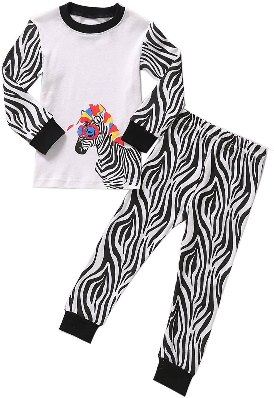 Pajamas for Girls Little Kids Long Sleeve Jammies Clothes Set Toddler Children Sleepwear Size 2-8T