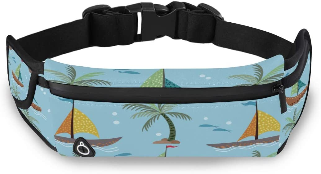Coconut Tree Summer Plant Girls Bag Fashion Running Waist Pack Men Love Fanny Pack With Adjustable Strap For Workout Traveling Running