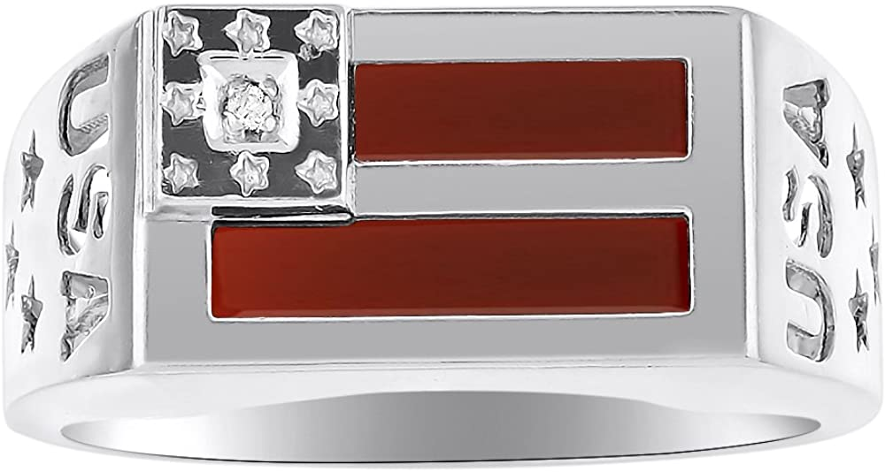 Diamond & Red Onyx Quartz Ring Sterling Silver or Yellow Gold Plated Silver Patriotic USA