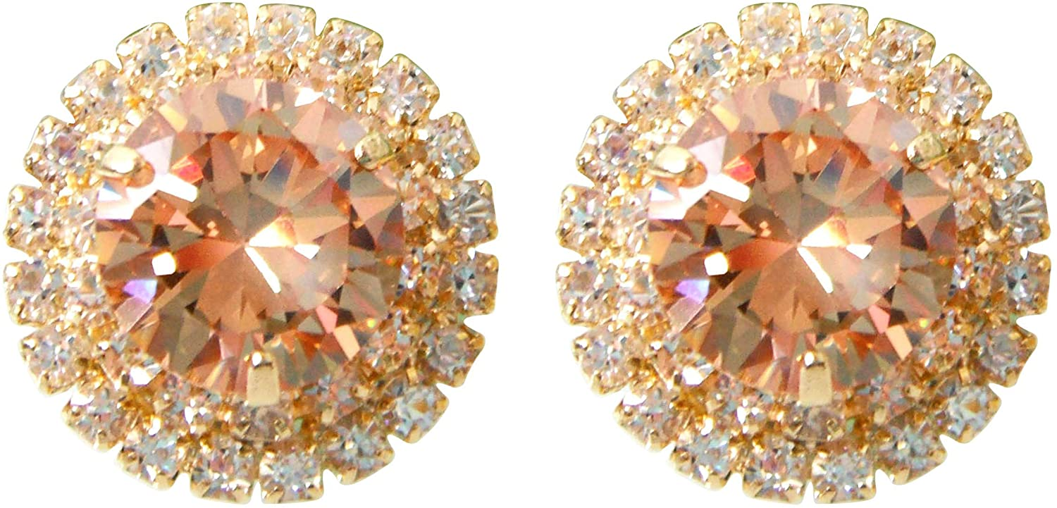 Navachi 18k Gold Plated Multicolor Round Zircon White Crystal Omega Back Stud Earrings