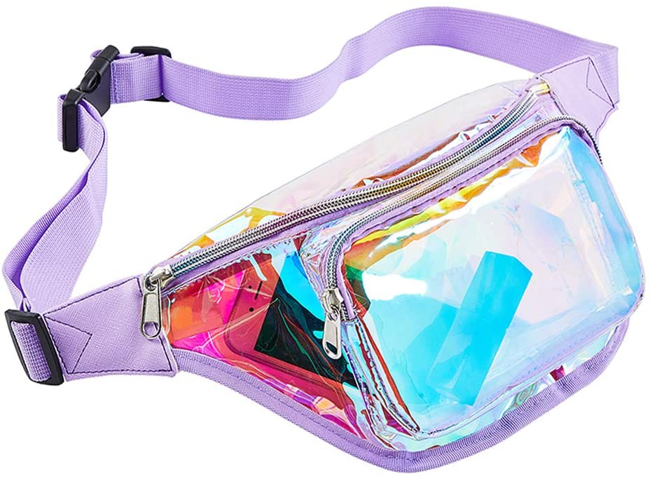 Fanny Pack for Women, Holographic Waist Fanny Pack with Adjustable Belt for Travel. Rave, Festival, Concerts, Party