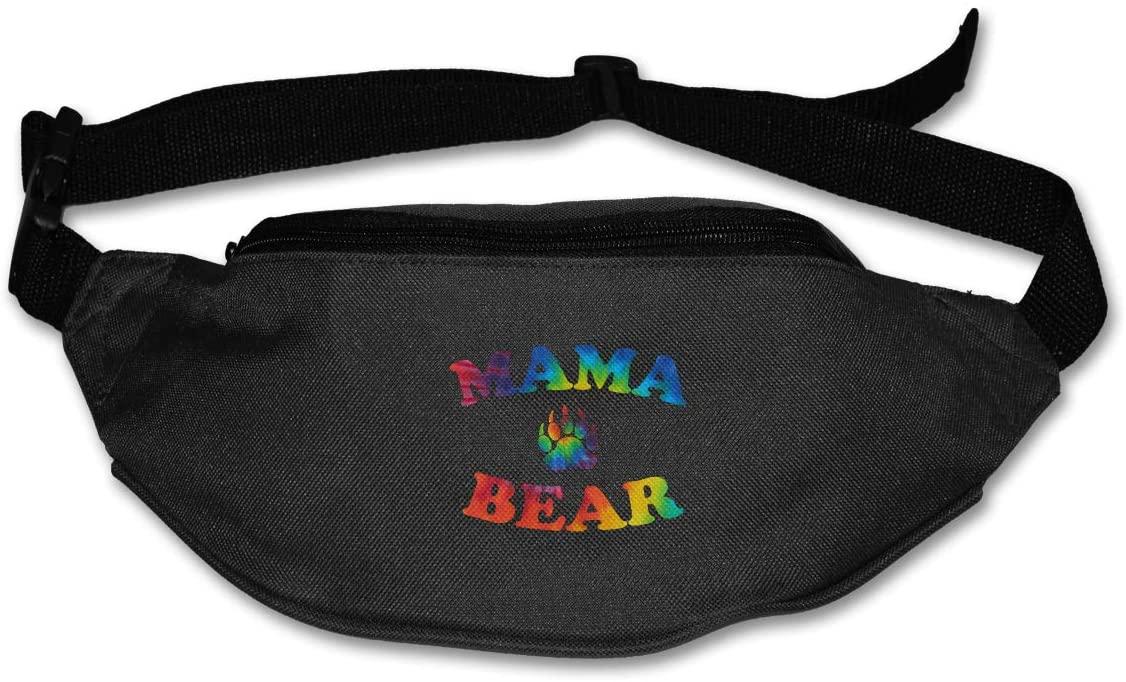 SWEET-YZ Unisex Waist Pack Mama Bear Tie-dye Flat Fanny Bag Pack for Sport Running