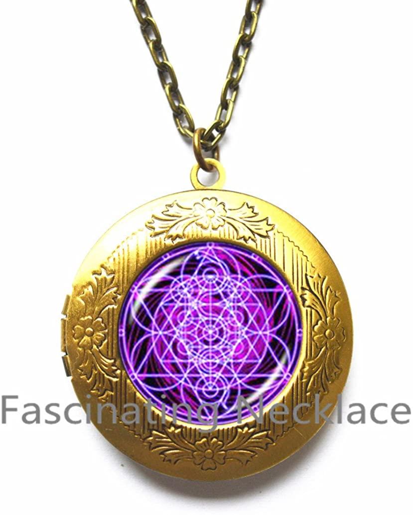 Purple sri yantra Locket Pendant Locket Necklace antique silver choker fashion jewelry glass dome art photo sacred geometry Locket Necklace,AQ205