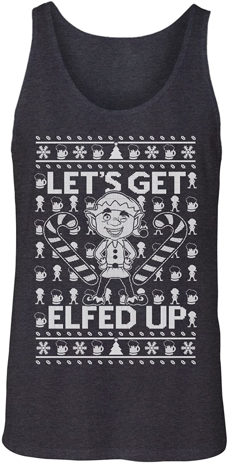 Manateez Men's Ugly Christmas Sweater Let's Get Elfed Up Tank Top