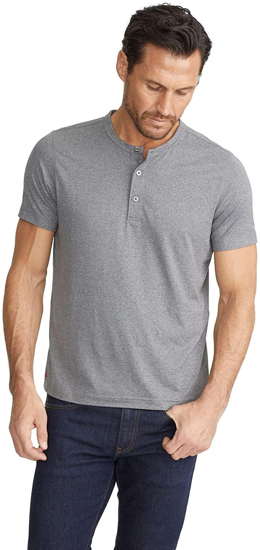 UNTUCKit Performance Henley Men's Workout Shirt – Short Sleeve, Grey