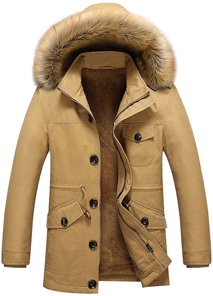 Chartou Men's Basic Single-Breasted Fleece Lined Fur Hooded Trench Coat XS-XXL