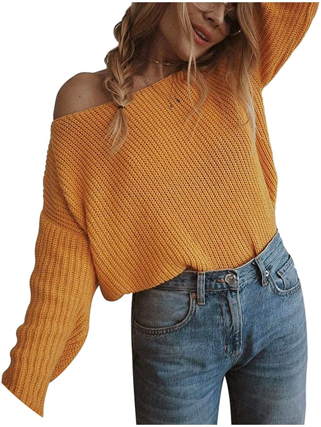 Off shoulderover Womens Sweater Knitted Sweater Loose Jumpers Oversized Sweater Plus Size