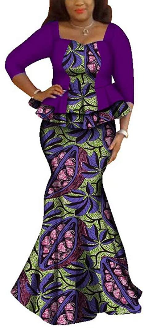 Womens Elegant African Skirts Set 2 Piece Ankara Peplum Tops and Mermaid Skirt