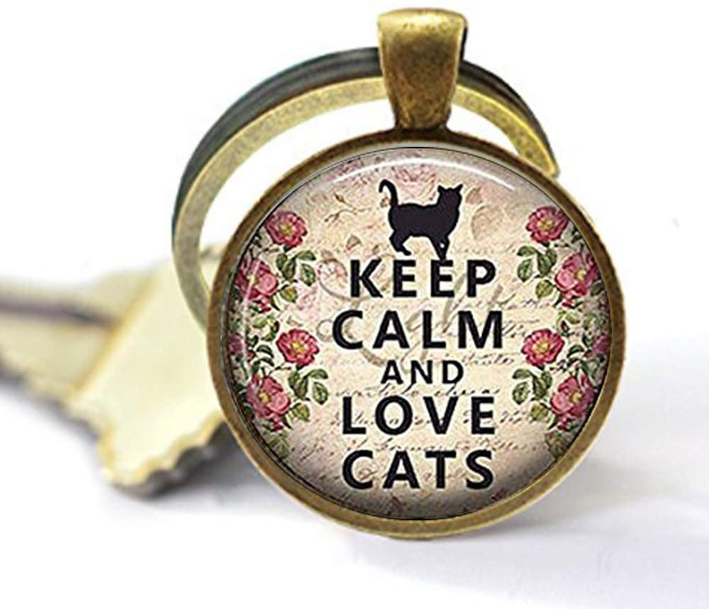 Keep Calm and Love Cats Keychain ,cat lover gift Keychain,cat lover Keychain,Unique Key Ring Customized Gift,Everyday Gift Key Chain