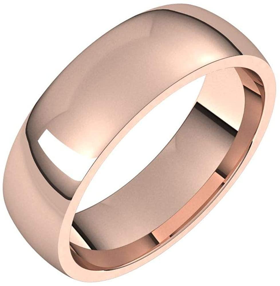 Solid 18K Rose Gold 5mm Half Round Comfort Fit Light Wedding Band Size 4.5