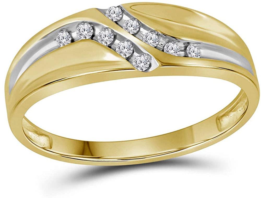 Diamond2Deal 14kt Yellow Gold Round Diamond Wedding Band Ring for Men 1/8 Cttw