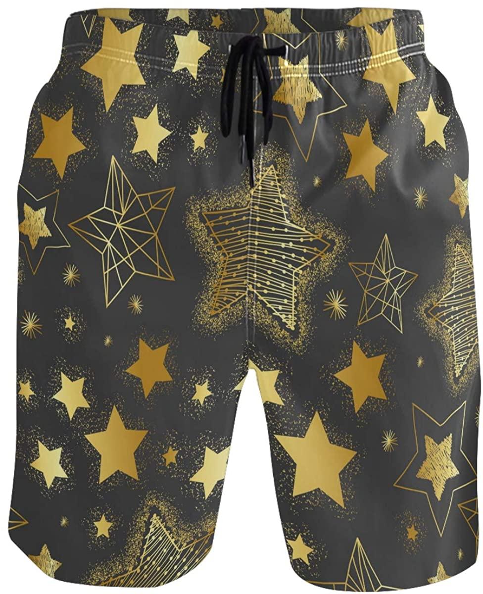 Men's Swim Trunks - Golden Stars Sky Beach Short Men Quick Dry Bathing Suit Shorts