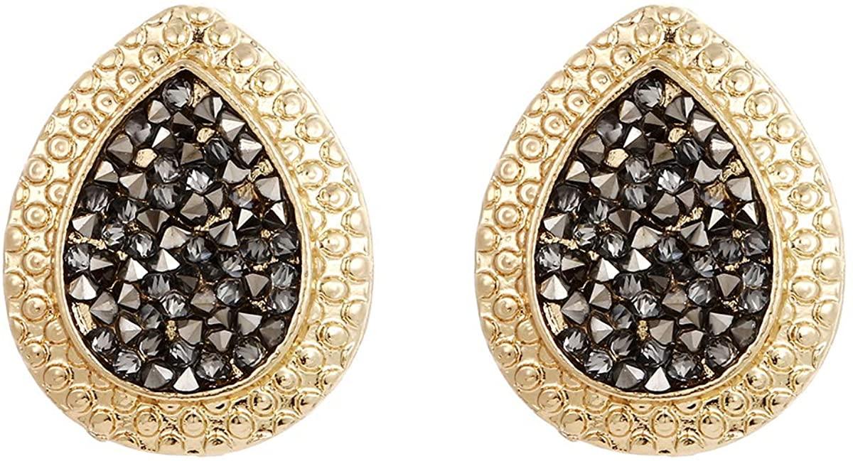 Winssi Gold Geometric Stud Earrings for Women Girls Sparkly Rhinestone Statement Earrings