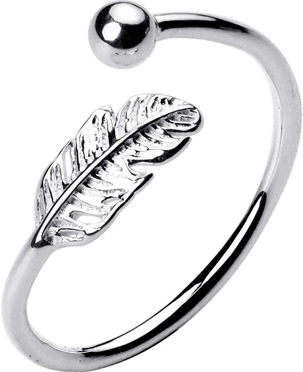 Qordelia 925 Sterling Silver Feather Ring Open Ring for Women Girls, Adjustable