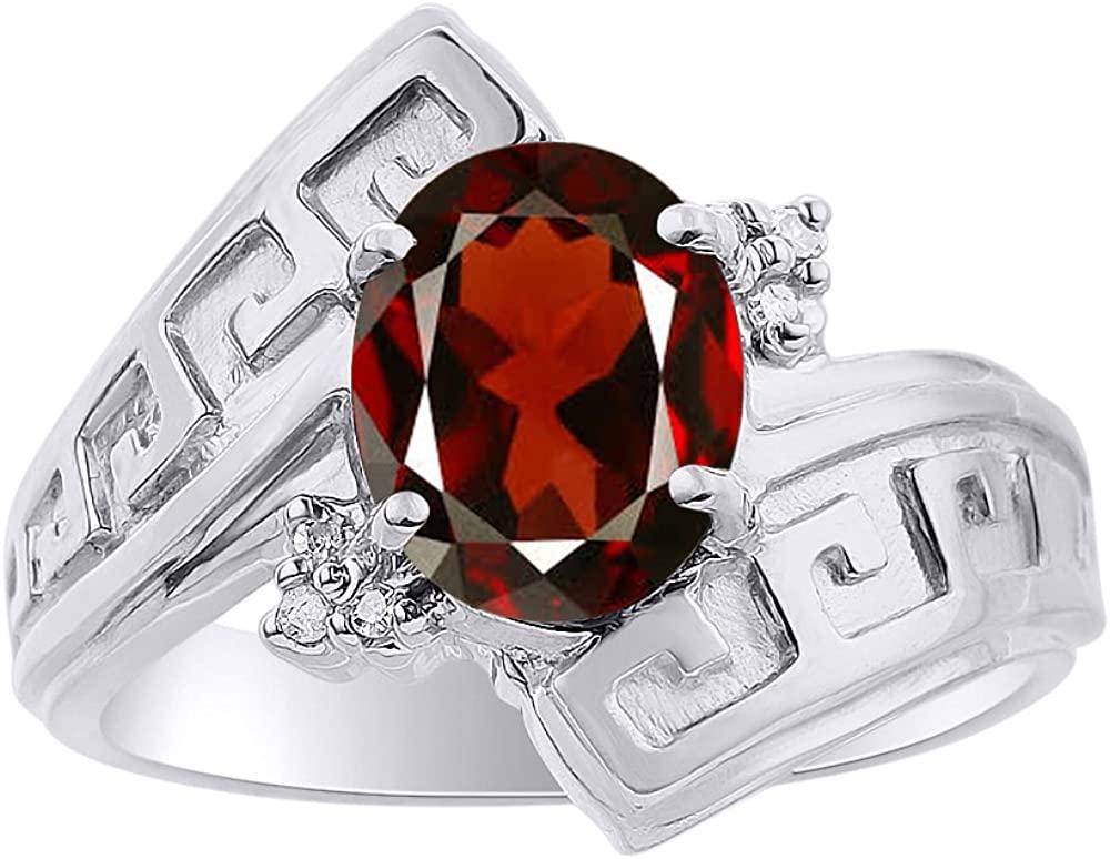 Diamond & Garnet Ring Set In 14K White Gold - Greek Key Design - Color Stone Birthstone Ring