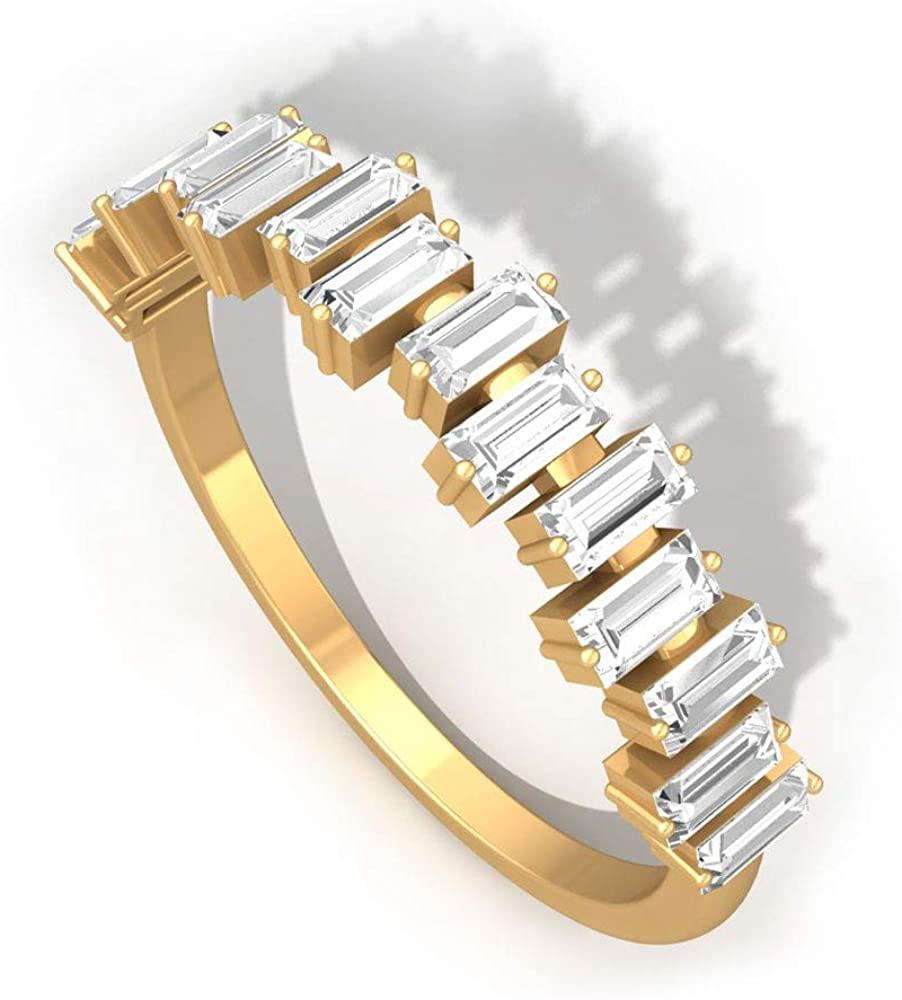 0.75 Carat Baguette IGI Certified Diamond Cluster Anniversary Ring, Irregular ScatterBridal Wedding Eternity Band Ring, Mother Birthday Promise Rings, 14K Yellow Gold, Size:US 9.5