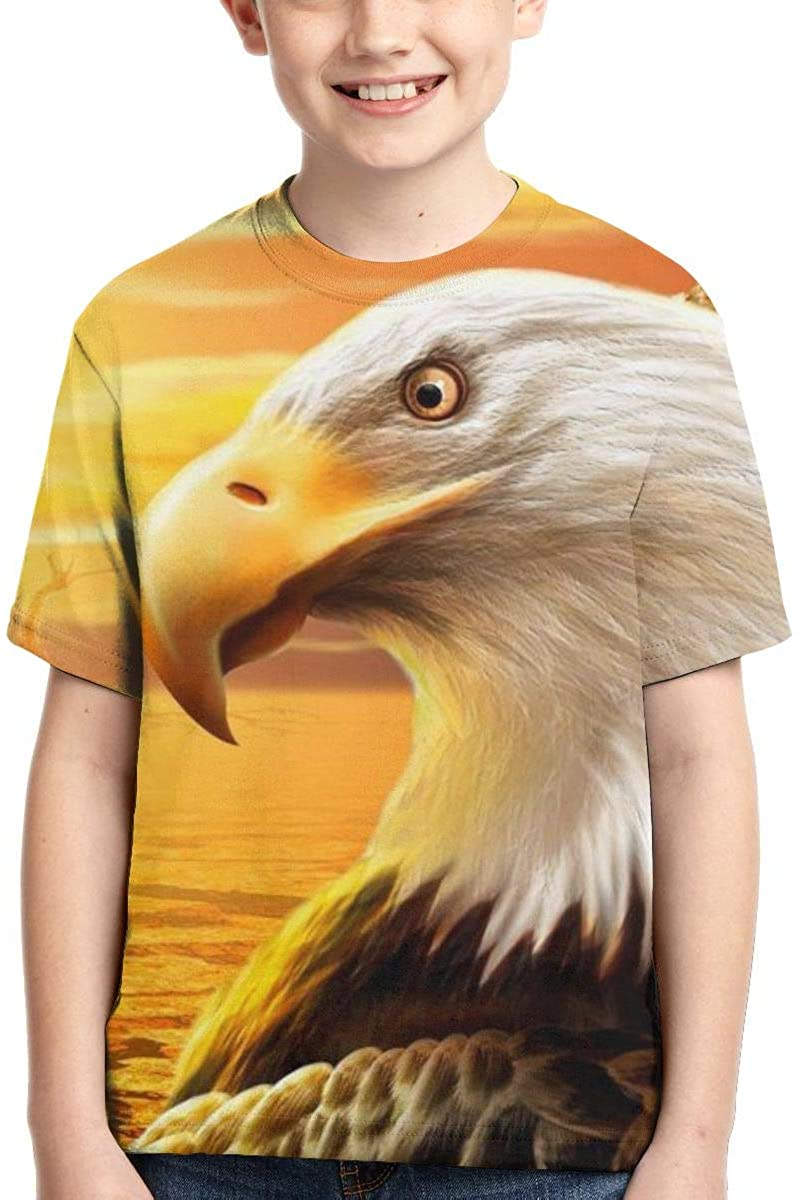 Youth T-Shirts, Bald Eagle Full Printed Short Sleeve Crew Neck Tees, Summer Tops for Boys