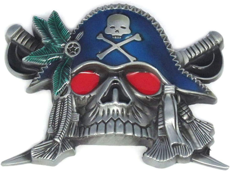Red Eyes Pirate Skull Head Swords Belt Buckle