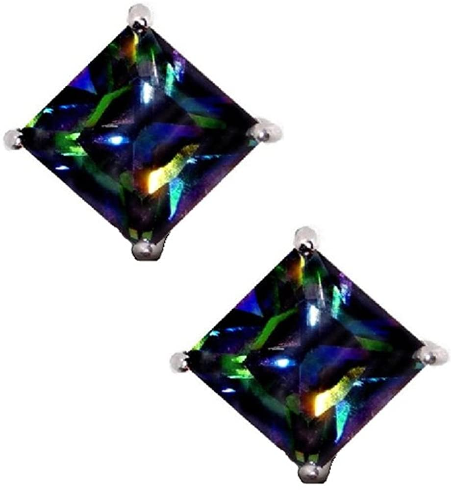 Rainbow Peacock Multi Color Square Princess Cut CZ Basket Set Sterling Silver Stud Earrings 11mm