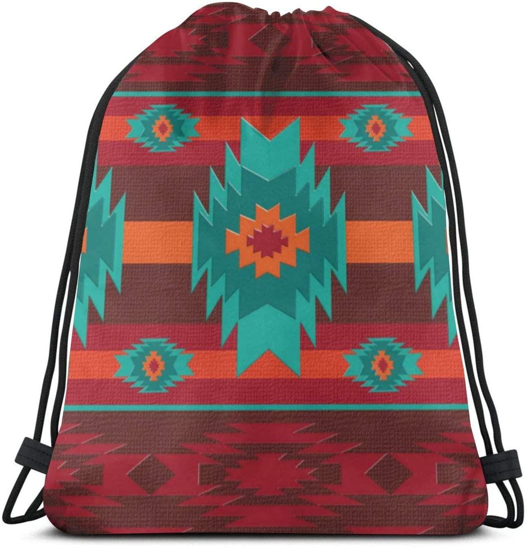 Southwestern Tribal Pattern DrawstringBackpackBagLightweightGymTravelYogaCasualSackpackShoulderbagforHikingSwimmingbeach