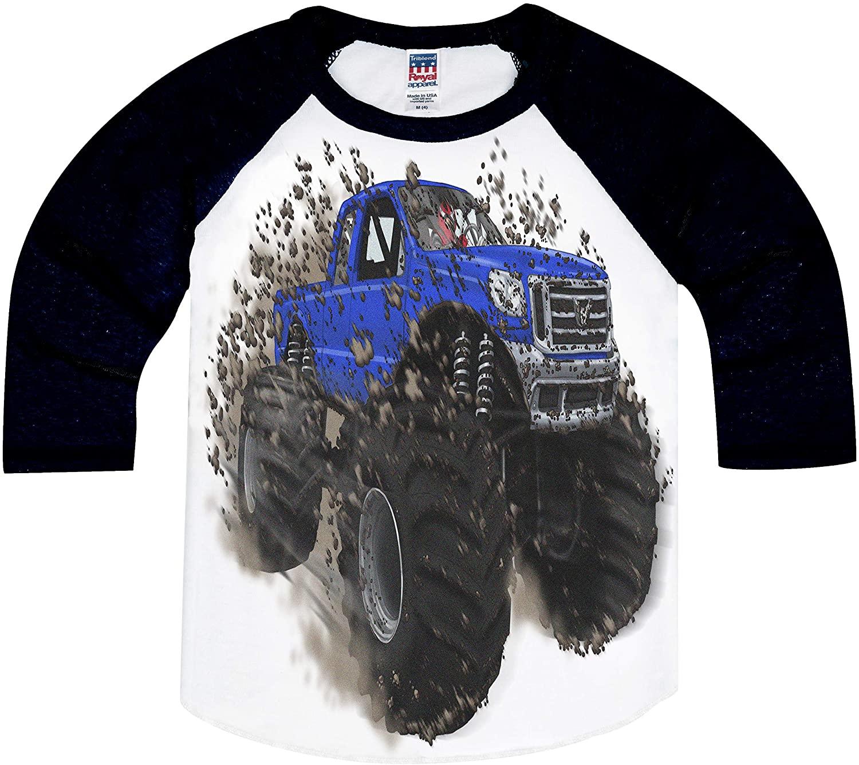 Shirts That Go Little Boys' Big Blue Monster Truck Raglan T-Shirt