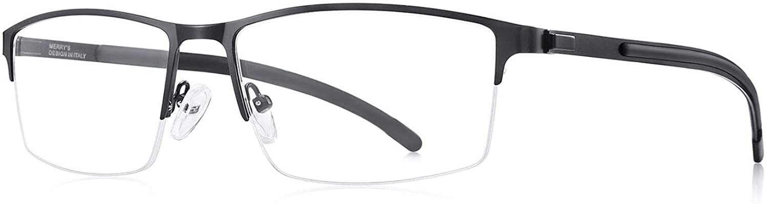 MERRY'S Men's Oversized Glasses Large Frame Optical Frame for Men Optical Eyewear Alloy Rubber Temples