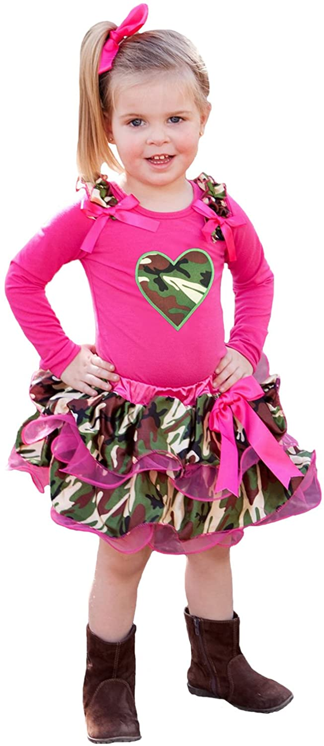 Petitebella Valentine Camouflage Heart Hot Pink Top Petal Skirt Girl Cloth Outfit Set Nb-8y