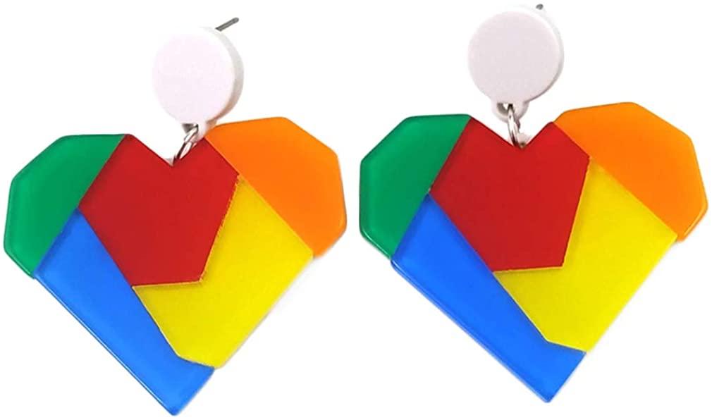 YAZILIND Exaggerated Color Acrylic Heart Shape Pendant Drop Dangle Earrings Women Girls Ear Jewelry