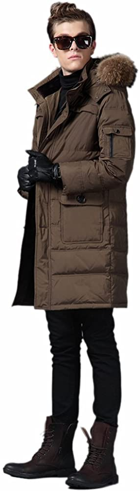 Queenshiny New Style Long Mens Down Coat Jacket with Raccoon Collar with Hoodie