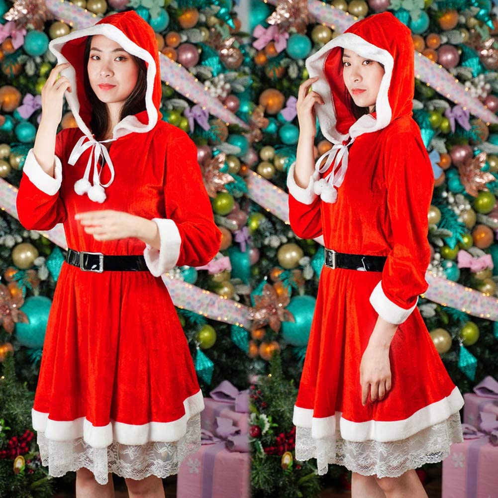 shlutesoy Cute Women Lady Cosplay Costume Stage Show Hoodie Christmas Santa Claus Dress Robe Red