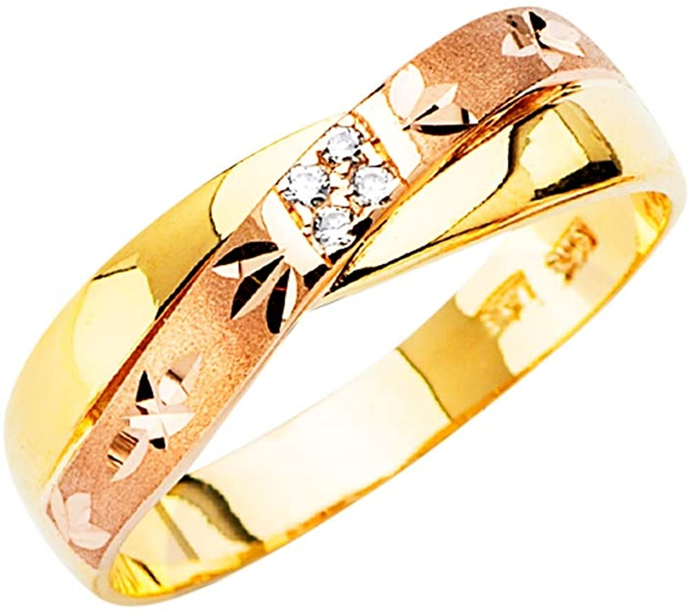 14k Yellow Gold White Gold and Rose Gold Mens CZ Cubic Zirconia Simulated Diamond Wedding Band Trio Set Ring Size 10 Jewelry Gifts for Men
