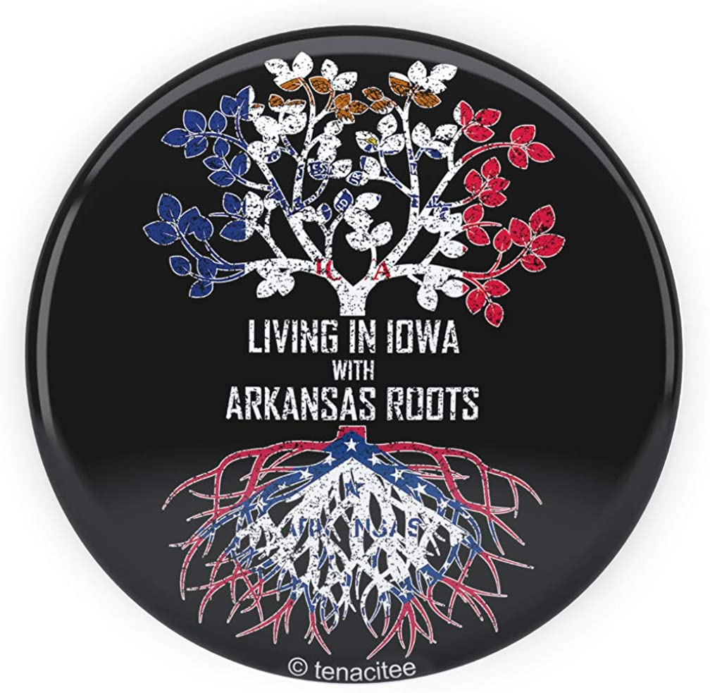 Tenacitee Living In Iowa with Arkansas Roots Pinback Button