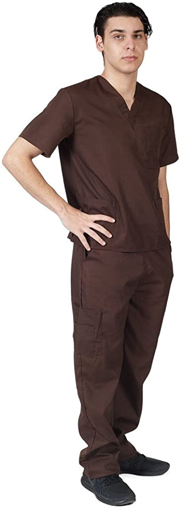 M&M SCRUBS Men Scrub Set Medical Scrub Top and Pants XXXL Chocolate