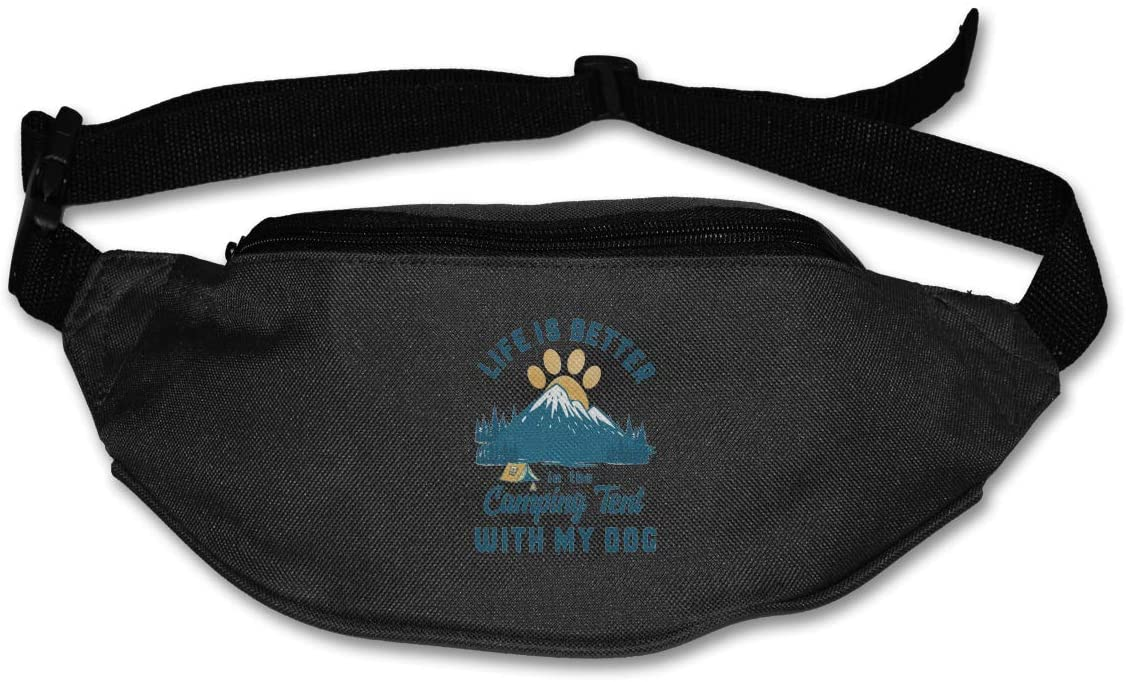 Camping With Dog Unisex Outdoors Fanny Pack Bag Belt Bag Sport Waist Pack