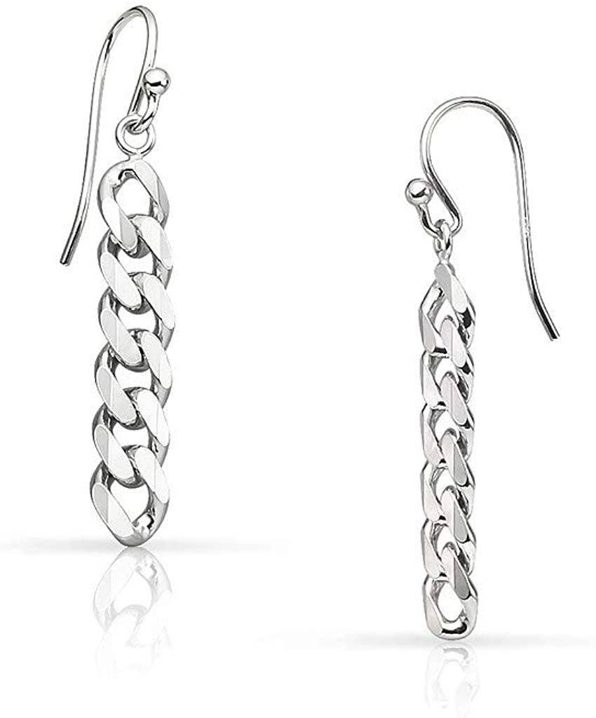 SolidSilver - Sterling Silver Cuban Chain Drop Dangle Earrings
