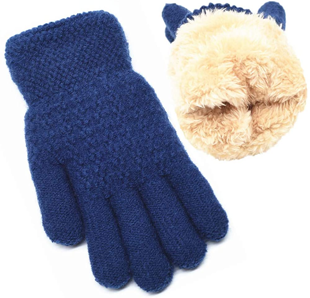 FENELY Winter Gloves for Boys Girls - Kids Thermal Knit Gloves for Cold Weather