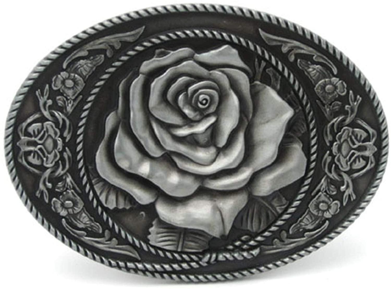 Vintage Rose Flower Girly Belt Buckle Western Country