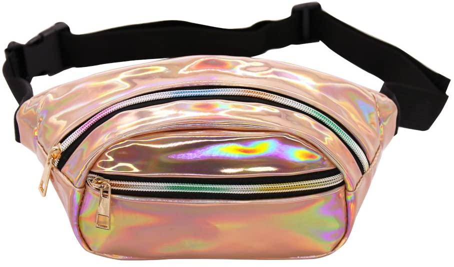 Hengreda Holographic Fanny Pack Women Laser Bum Bag Travel Beach Shiny Waist Bags Raves Hip Bag Fashion Hologram PVC Travel (Glod)