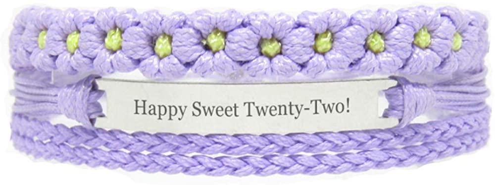 Miiras Birthday Engraved Handmade Bracelet - Happy Sweet Twenty-Two! - Purple FL - Gift for Women, Girls, Friends, Mothers, Daughters, Aunts who are Twenty-Two Years Old