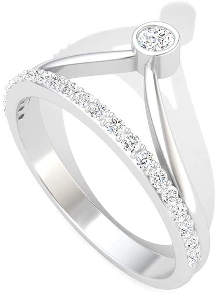 0.28 Carat Bezel Set IGI Certified Diamond Anniversary Crown Ring, Antique Princess Wedding Bridal Vintage Ring, Diamond Eternity Mother Stacking Ring, 14K White Gold, Size:US 9.5