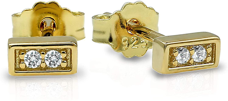 Spoil Cupid 925 Sterling Silver Cubic Zirconia Tiny Dainty Bar Stud Earrings