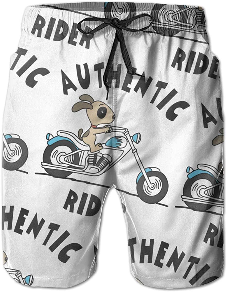 Authentic Rider Dog Mens Swim Trunks Summer Casual Athletic Swimming Short