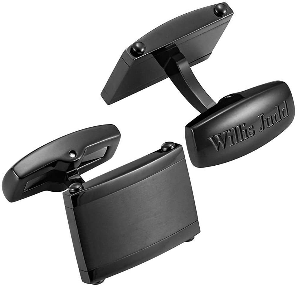 Willis Judd Mens Stainless Steel Silver Cufflinks in Gift Pouch