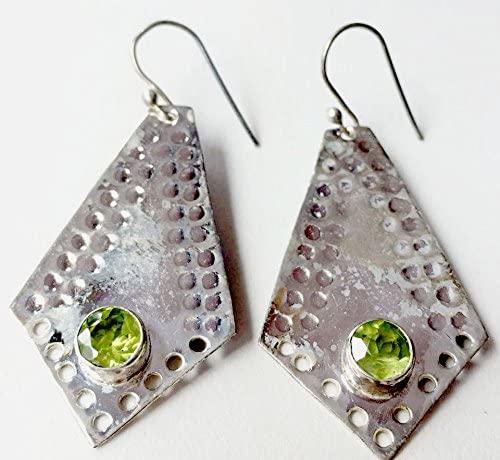 925 Sterling Silver Semi Precious Peridot Dangler Earring Jewelry,Peridot Earring,Silver Earring