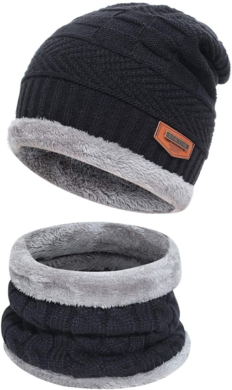 Kids Boys Girls Winter Warm Knit Beanie Hat Cap and Scarf Set with Fleece Lining