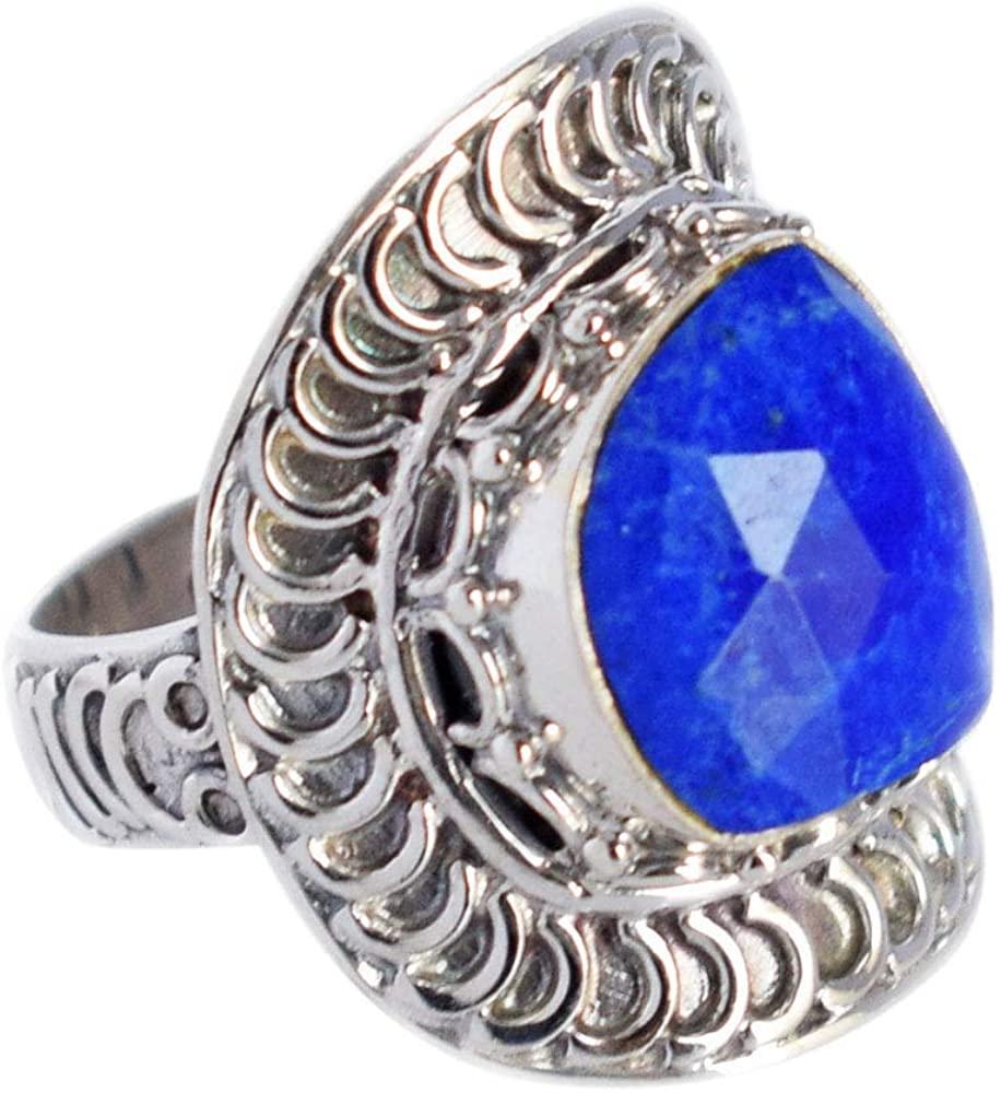 Ravishing Impressions Lovely Natural Blue Lapis Lazuli Gemstone Adjustable Ring, 925 Sterling Silver Girls Ring, Handmade Jewellery, Gifts, FSJ-3582