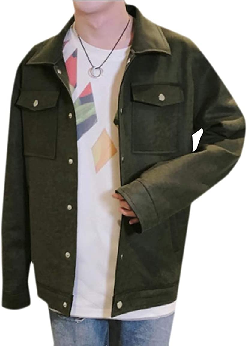 Men Simple Winter Fall Embroidery Warm Buckle Faux Suede Coat Jacket,Blackish Green,US S=China M