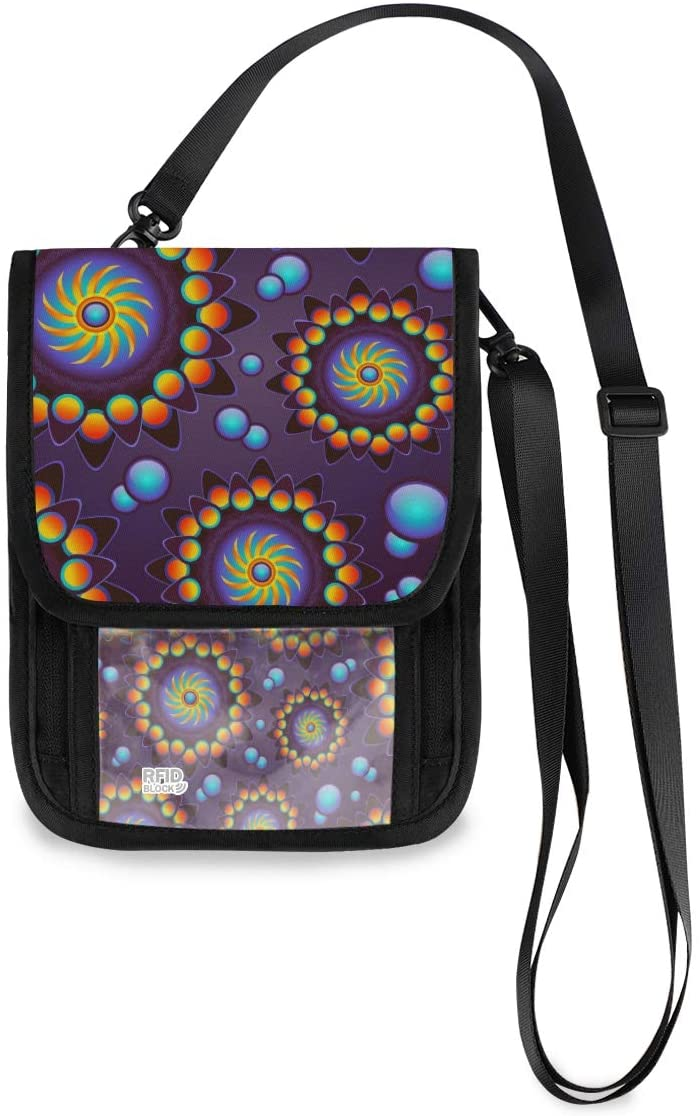 Travel Neck Wallet Purple Mandala Art Passport Holder Organized Travel Neck Pouch Crossbody Phone Bag for Women Men
