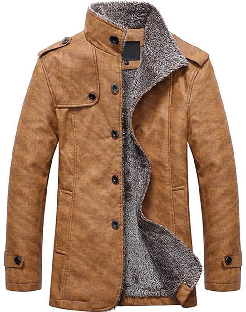 ZEFOTIM Fashion Men's Autumn Winter Casual Button Thermal Leather Warm Jackets Coats Top